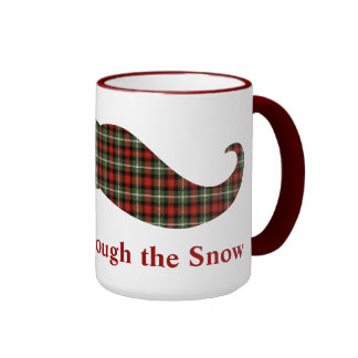 Staching a través del bigote del navidad de la tel tazas de café