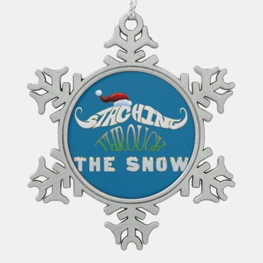 Staching con el navidad divertido de la nieve adorno de peltre en forma de copo de nieve