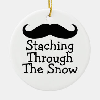 Staching Through The Snow (1 sided) Ceramic Ornament