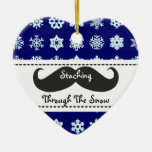 Staching through the snow at Christmas Ceramic Ornament