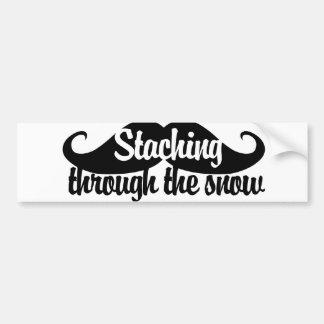 Staching through the snow car bumper sticker
