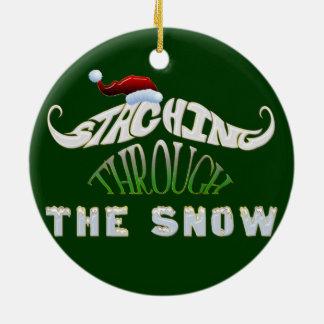Staching Through the Snow Ceramic Ornament