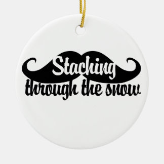 Staching through the Snow Ceramic Ornament