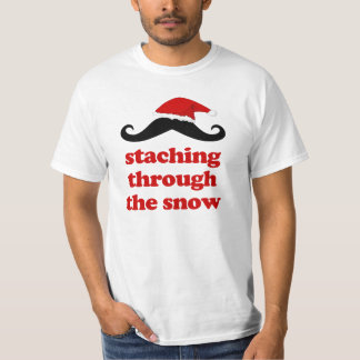 staching through the snow funny christmas santa tshirts