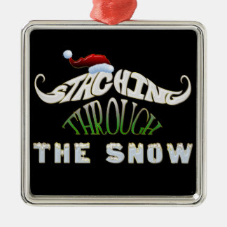 Staching Through the Snow Metal Ornament
