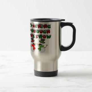 Staching through the snow coffee mug