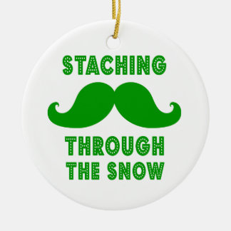 STACHING THROUGH THE SNOW ORNAMENT | GREEN