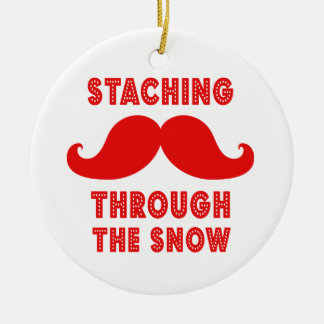STACHING THROUGH THE SNOW ORNAMENT | RED