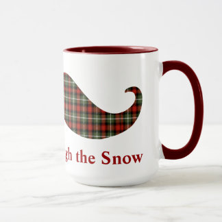 Staching Through the Snow Plaid Christmas Mustache Mug
