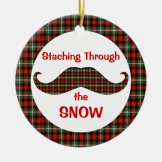 Staching Through the Snow Plaid Christmas Ornament