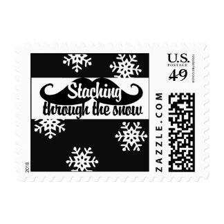 Staching through the snow postage