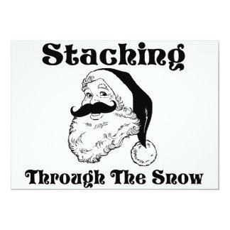 Staching Through The Snow Santa Card