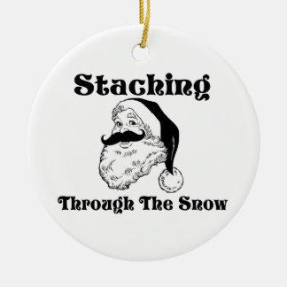 Staching Through The Snow Santa Ceramic Ornament