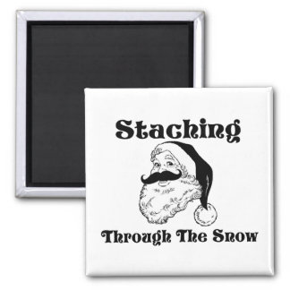 Staching Through The Snow Santa Refrigerator Magnets