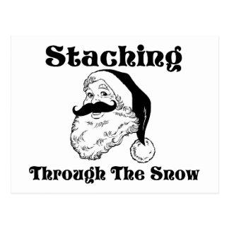 Staching Through The Snow Santa Postcard