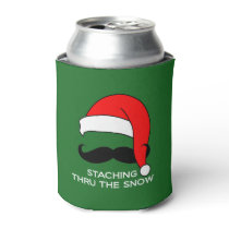 Staching Thru the Snow funny Christmas Can Cooler