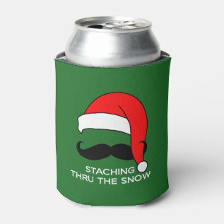 Staching Thru The Snow Funny Christmas Can Cooler at Zazzle