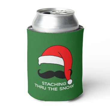 Christmas Themed Staching Thru the Snow funny Christmas Can Cooler