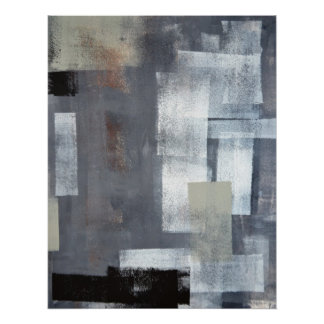 'Stack it Up' Grey and Green Abstract Art Poster
