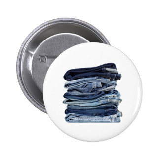 Stack of blue jeans button