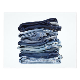 Stack of blue jeans card