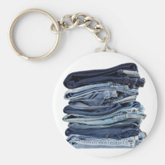 Stack of blue jeans keychain