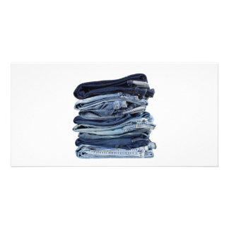 Stack of blue jeans picture card