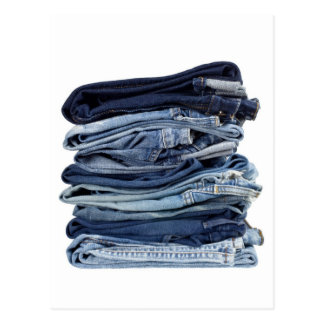 Stack of blue jeans post cards