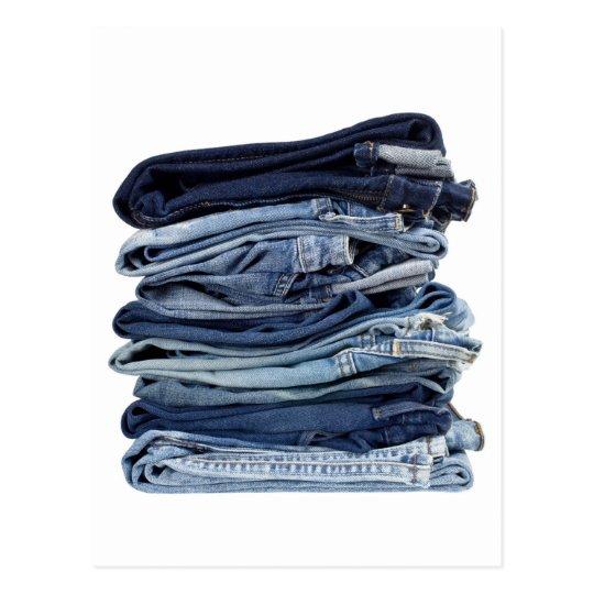 Stack of blue jeans postcard