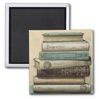 stack of books 2 inch square magnet