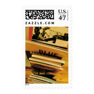 Stack of books and magazines postage stamp
