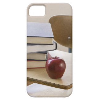 Stack of books, apple, and school desk iPhone SE/5/5s case