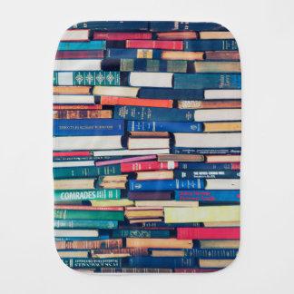 Stack of books baby burp cloth