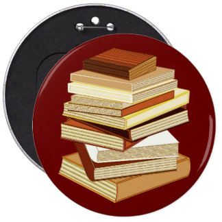 Stack Of Books - Beige 6 Inch Round Button