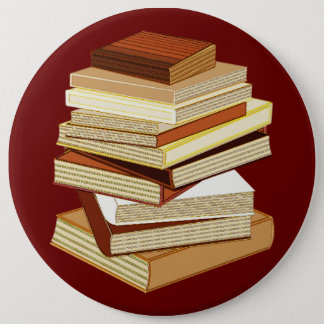 Stack Of Books - Beige Pinback Button