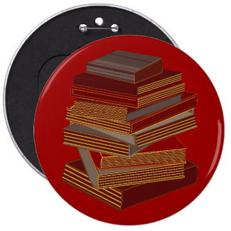 Stack Of Books - BrownGrey 6 Inch Round Button