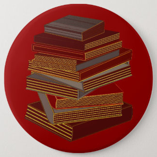 Stack Of Books - BrownGrey Pinback Button