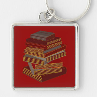 Stack Of Books - BrownGrey Silver-Colored Square Keychain