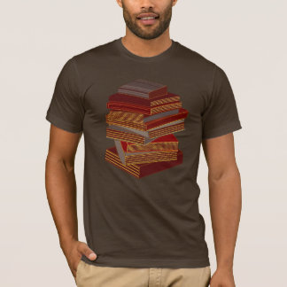 Stack Of Books - BrownGrey T-Shirt