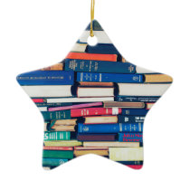 Stack of books ceramic ornament