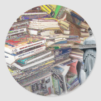 Stack of Books Classic Round Sticker