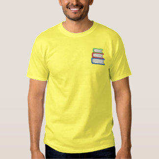 Stack Of Books Embroidered T-Shirt
