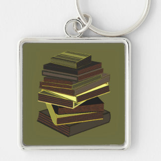 Stack Of Books - Green Silver-Colored Square Keychain