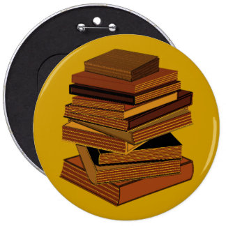 Stack Of Books - GreenBrown 6 Inch Round Button