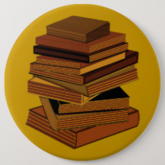 Stack Of Books - GreenBrown Pinback Button