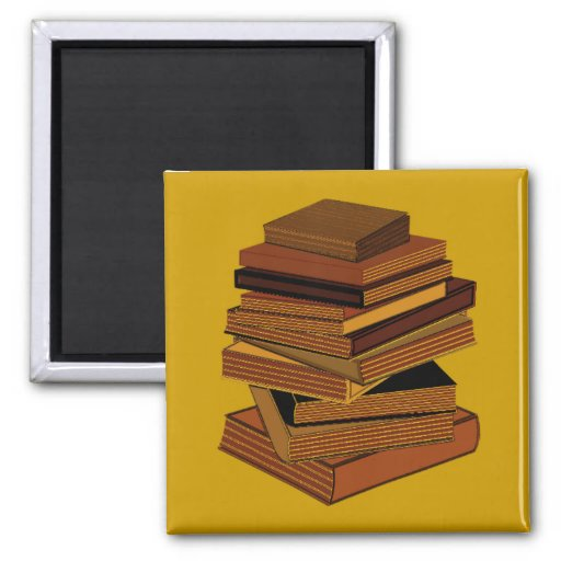 Stack Of Books - GreenBrown Refrigerator Magnets