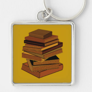 Stack Of Books - GreenBrown Silver-Colored Square Keychain
