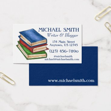 Beach Themed Stack of Books Library Book Writer Reading Teacher Business Card