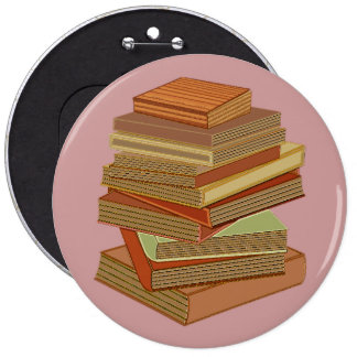 Stack Of Books - Pastel 6 Inch Round Button