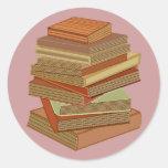 Stack Of Books - Pastel Round Sticker